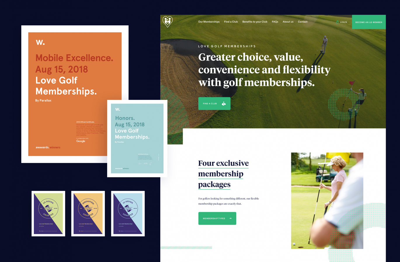 Mobile Excellence Award via Awwards for Love Golf Memberships for Parallax